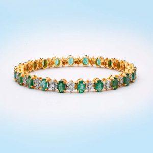 Diamond and Emerald Bangle