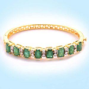 Diamond and Emerald Half Bangle