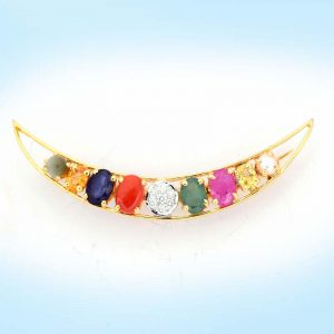 Diamond and Navaratna Brooch