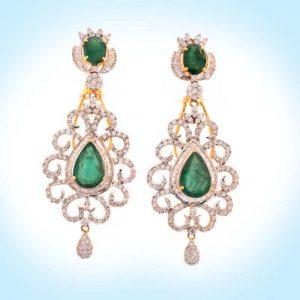 Diamond and Emerald Earring
