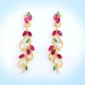 Diamond and Multi-color Earring